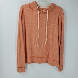 J. CREW orange white stripe hoodie sweatshirt